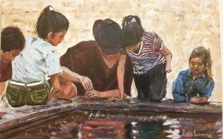 Niños en estanque